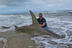 Americano pesca Tubarao-Martelo de quase 4m na Costa do Texas-USA 4