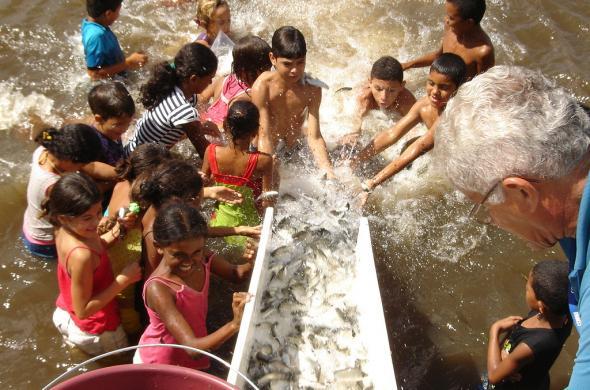 Comunidade participa das acoes de peixamento que beneficiam varios municipios na Foz do Sao Francisco