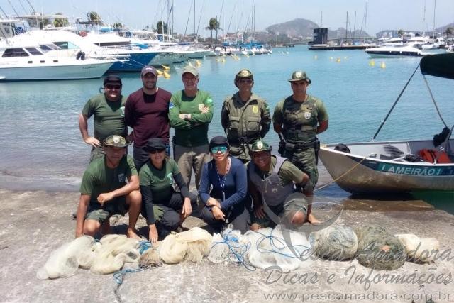 Fiscalizacao contra pesca predatoria apreende tarrafas e redes em Vitoria