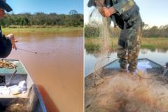 Forca Verde apreende 2.000 m de redes e 300 m de espinheis no Rio Tibagi no PR 8