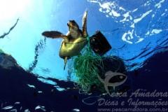 Materiais de pesca descartados no oceano - Lixo marinho - Pesca Fantasma