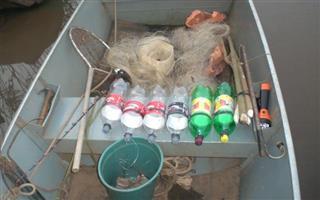Material usado na pesca predatoria no rio ivai no Parana