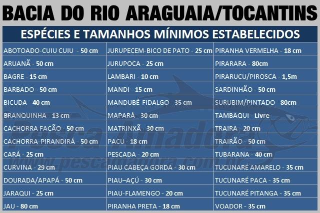 Naturatins define tamanho minimo para pesca de 39 especies na Bacia do Rio Araguaia-Tocantins e Afluentes