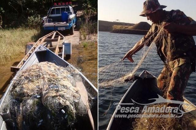 PMA apreende 30 redes durante fiscalizacao no lago da Usina Sergio Mota no rio Parana 2