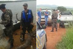 PMA apreende 5 redes e espinheis no Lago Serra do Facao em Goias