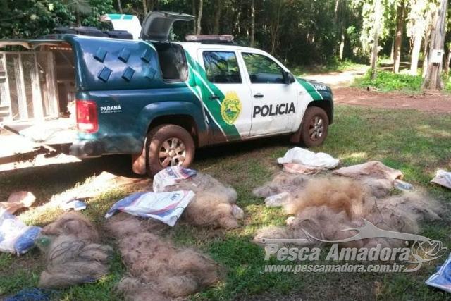 PMA apreende mais de 2.000m de redes ilegais durante fiscalizacao no Parana