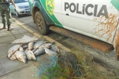 PMA apreende redes e 34 kg de pescado ilegal no Rio Imbituvao-PR
