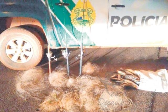 PMA de Umuarama apreende redes e pescado ilegal no Parana