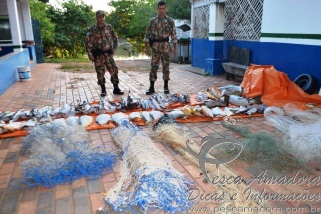 PMA de coxim apreende 172kg de pescado e redes de pesca