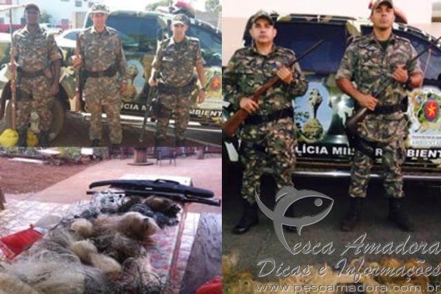 PMA prende cacadores e apreende redes e armas em Goias