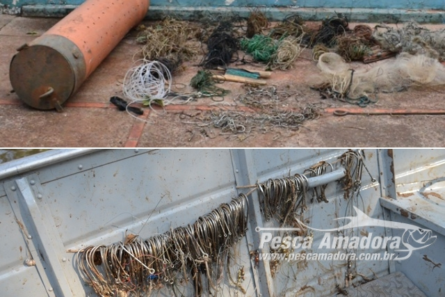 PMA retira 150 metros de espinheis e 317 anzois de galho no Rio Miranda e afluentes no MS capa