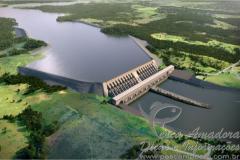 Perspectiva ilustrada da usina de Belo Monte na Amazonia