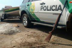 Policia Ambiental apreende 77 metros de redes de pesca e espingarda em Salto Santiago no Parana