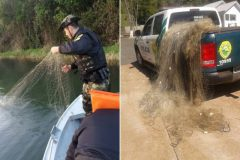 Policia ambiental apreende 24o metros de redes de pesca no alagado Salto do Ozorio no Parana