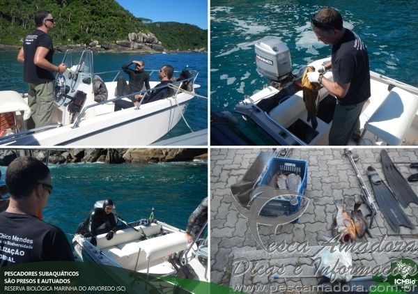 Quatro sao presos por pesca subaquatica em reserva biologica