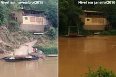 Rio Sao Francisco - Travessia da balsa entre Piumhi e Bambui na comparacao nov-2015 e jan-2016