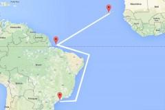 Trageto percorrido pelo naufrago de Cabo Verde ate ser resgatado e levado para Santos-SP