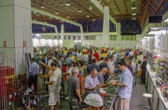 Visitantes aproveitam para renovar as tralha na feira de Goiania