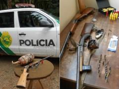 Polícia Ambiental apreendeu cinco armas, 367 munições, carnes de caça e animais mortos (Foto: Divulgação/Polícia Ambiental)