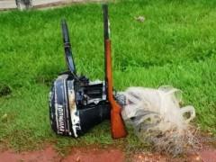 arma motor e rede apreendidos no MS
