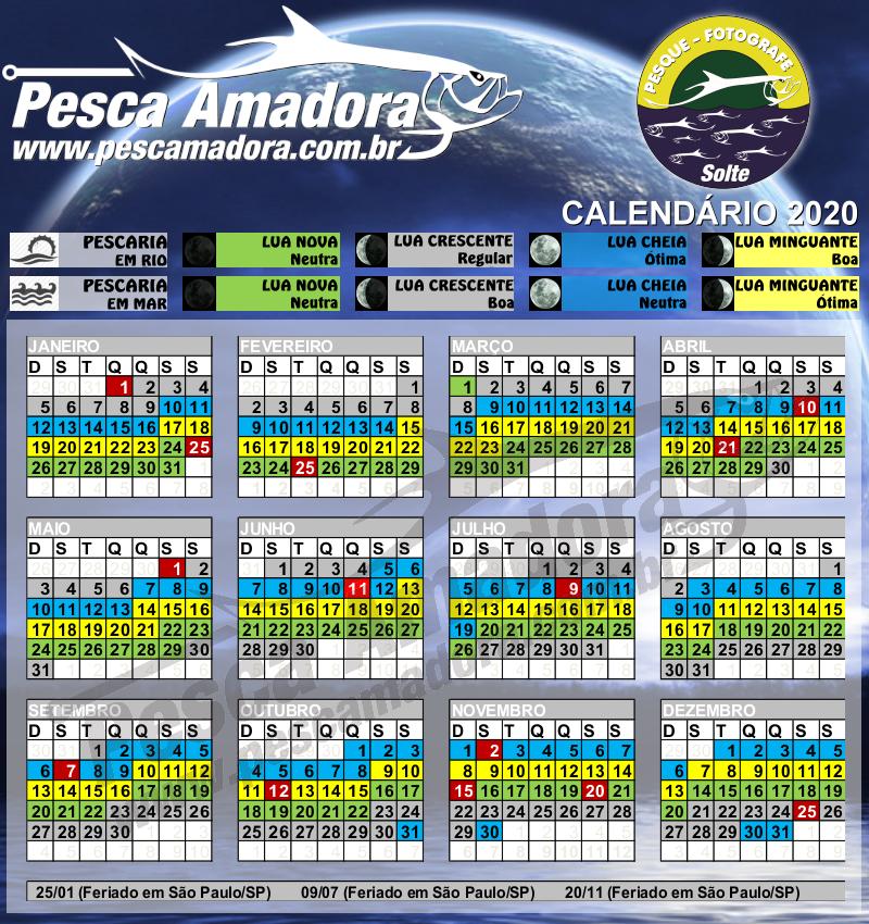 Calendário de Pesca – Fases da Lua | Portal Pesca Amadora Esportiva