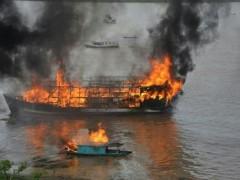 Embarcação explode enquanto armazenava gasolina(Foto: Policia Militar)
