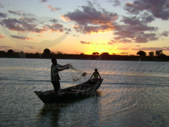 pescador artesanal lancando rede de pesca