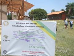 Placa instituto chico mendes de biodiversidade no Pantanal